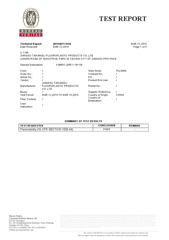 Mutiflon Bureau Veritas Test Report