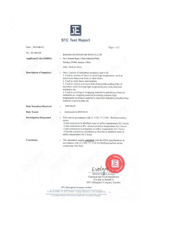 Mutiflon STC Test Report